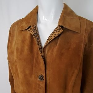 Chico's Jackets & Coats - Chico's Brown Suede Reversible Coat Jacket Leopard